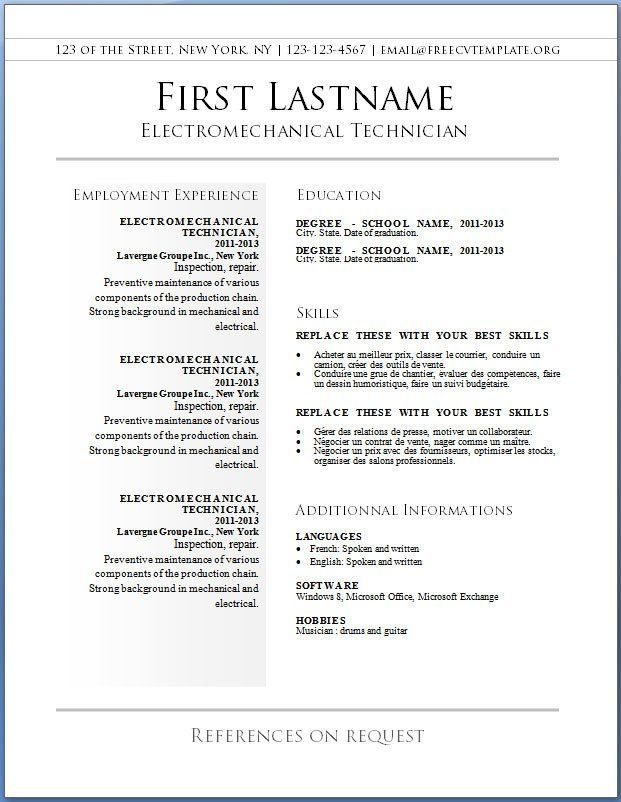 Free Resume Templates New Zealand
