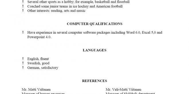 Resume Examples References