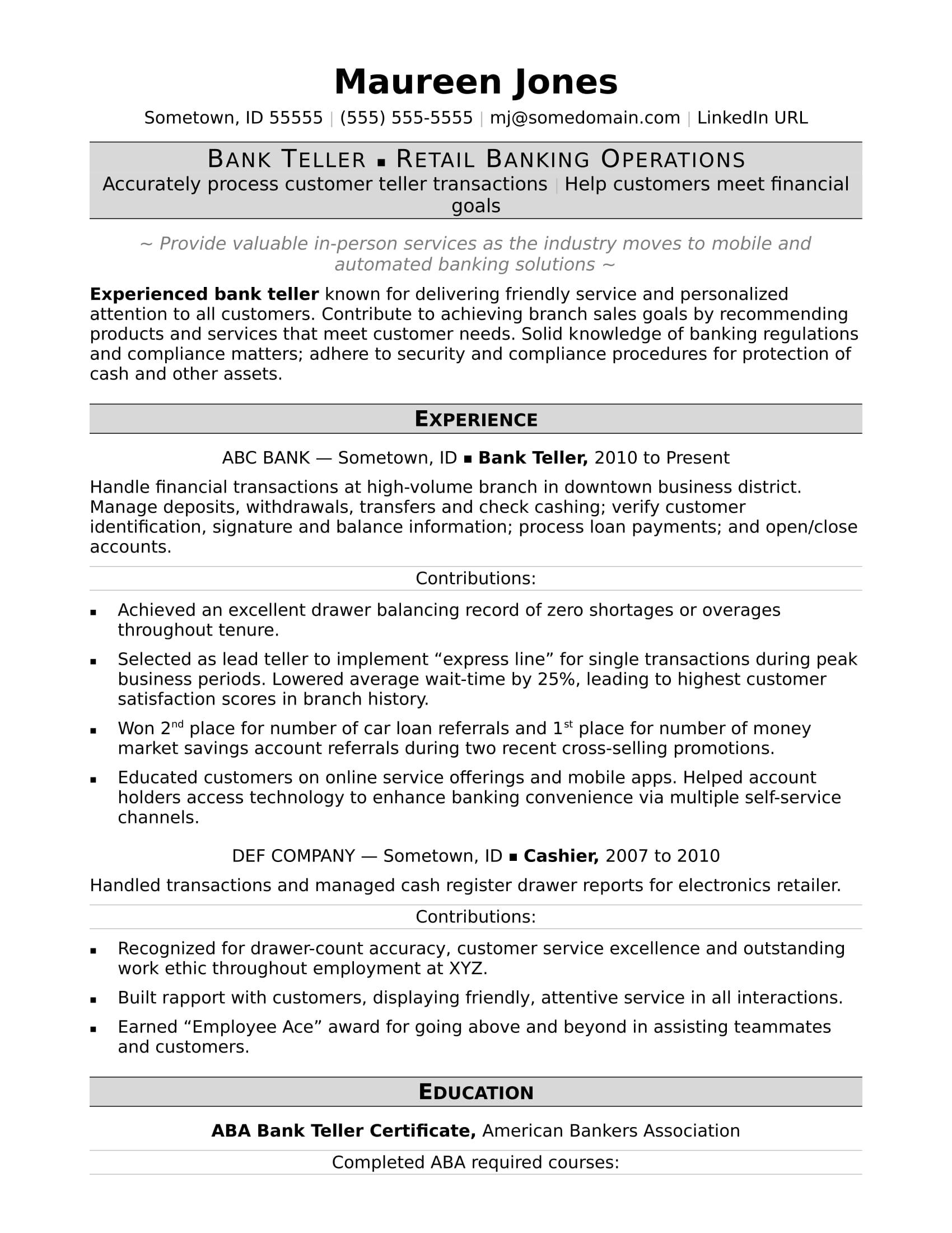 resume examples bank teller
