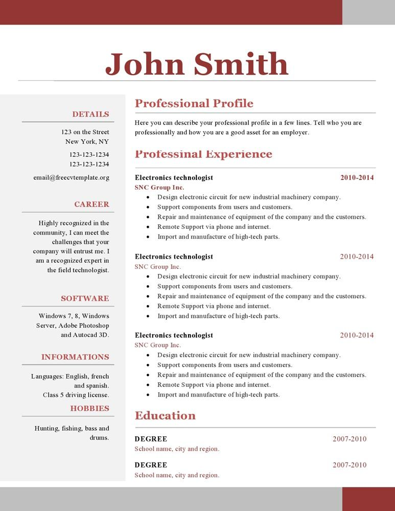 Free Resume Templates 1 Page
