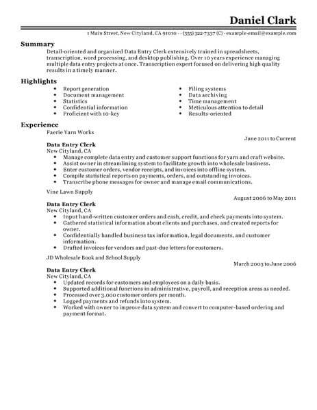 Resume Examples Data Entry