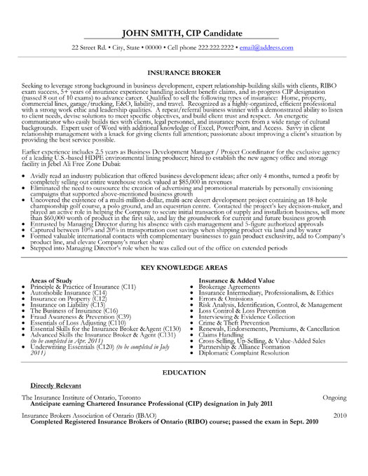 Resume Examples Insurance