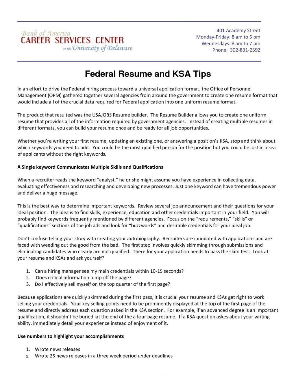 Resume Ksa Examples
