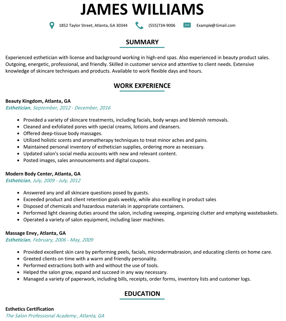 Resume Examples Esthetician - Resume Examples