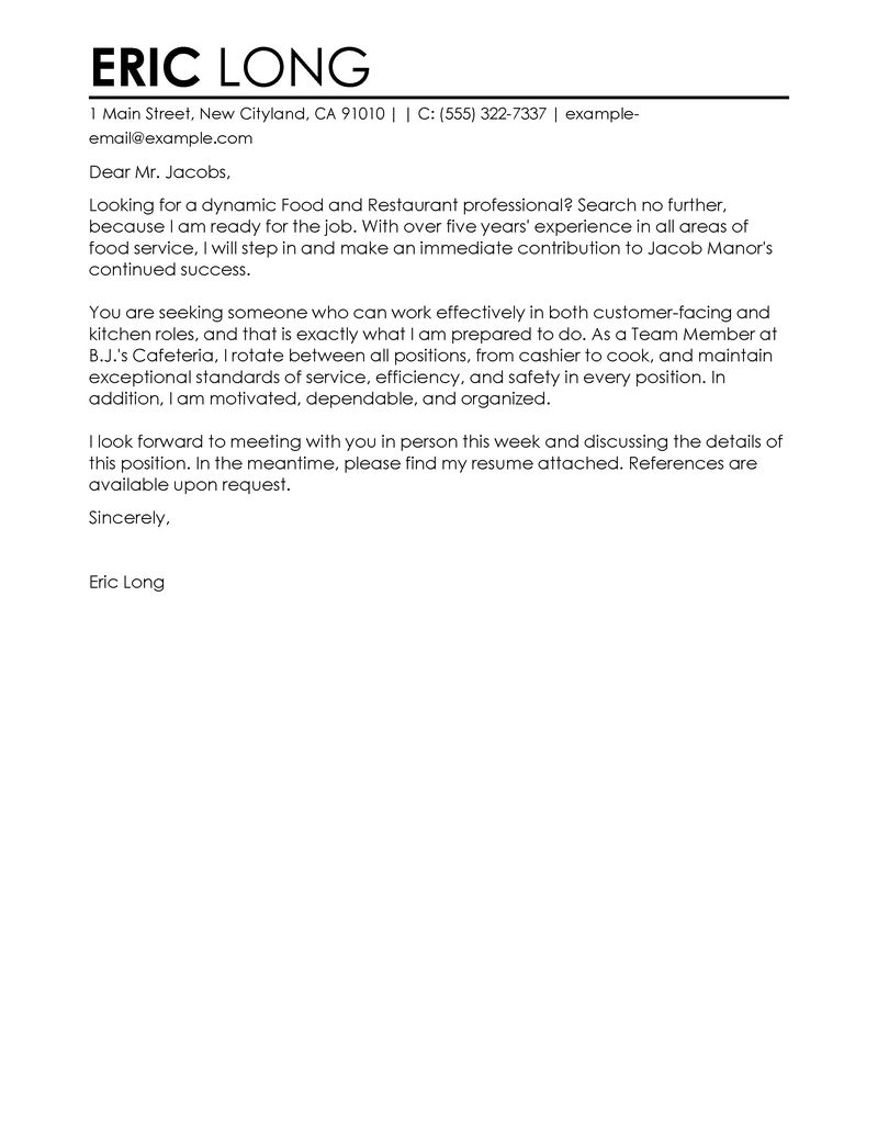 Cover Letter Template Restaurant Resume Examples