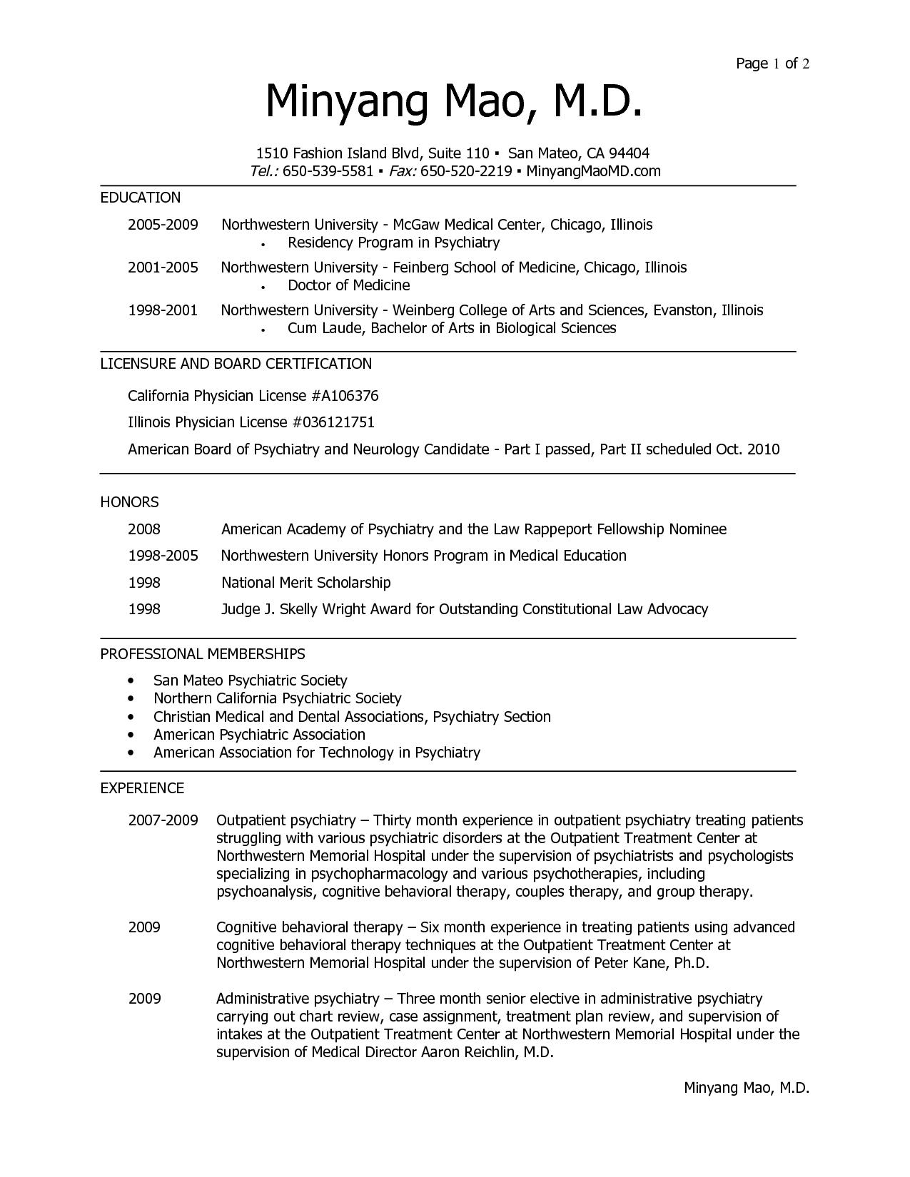 Cv Template For Residency