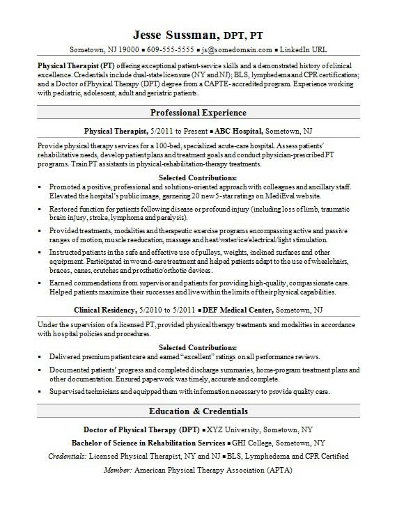 resume examples physical therapist