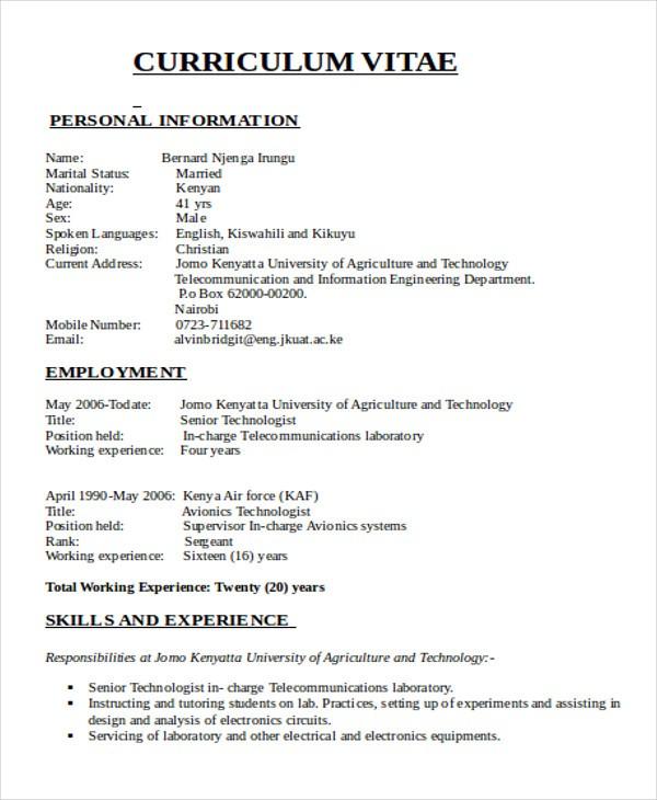 Cv Template Kenya Resume Examples