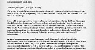 Cover Letter Template Nursing