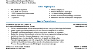 Resume Examples Ultrasound Technologist