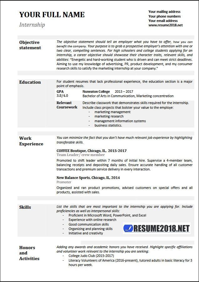 Resume Examples 2018 Skills