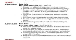 Resume Examples Social Work