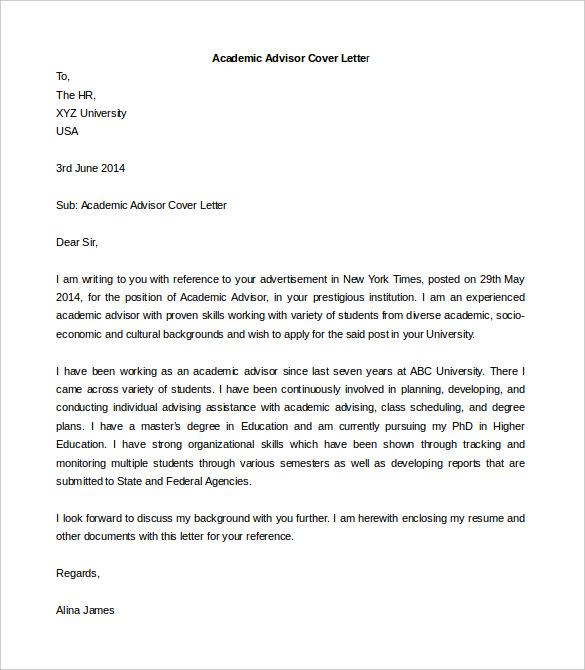 Cover Letter Template Academic