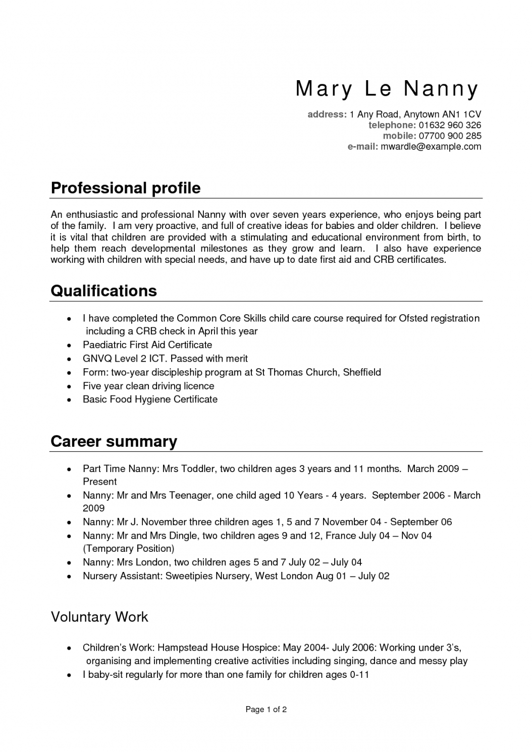 A Nanny Resume Examples