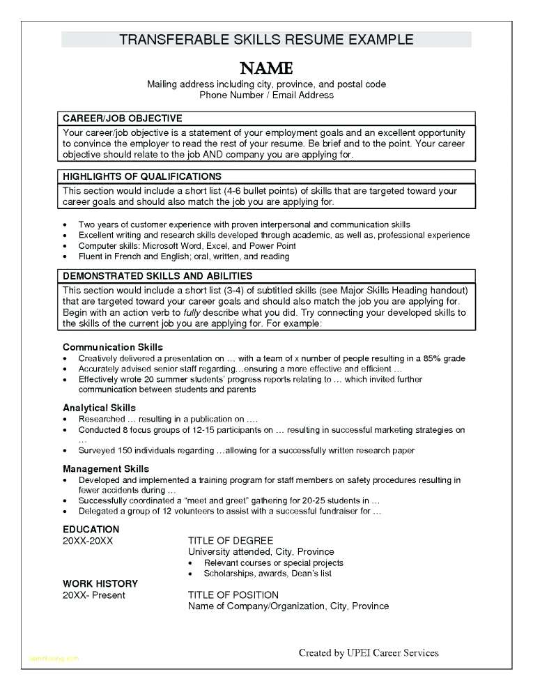 Resume Examples Listing Skills