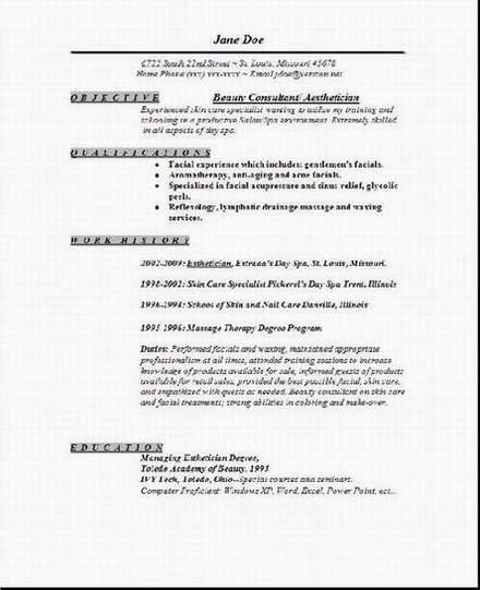 resume examples esthetician