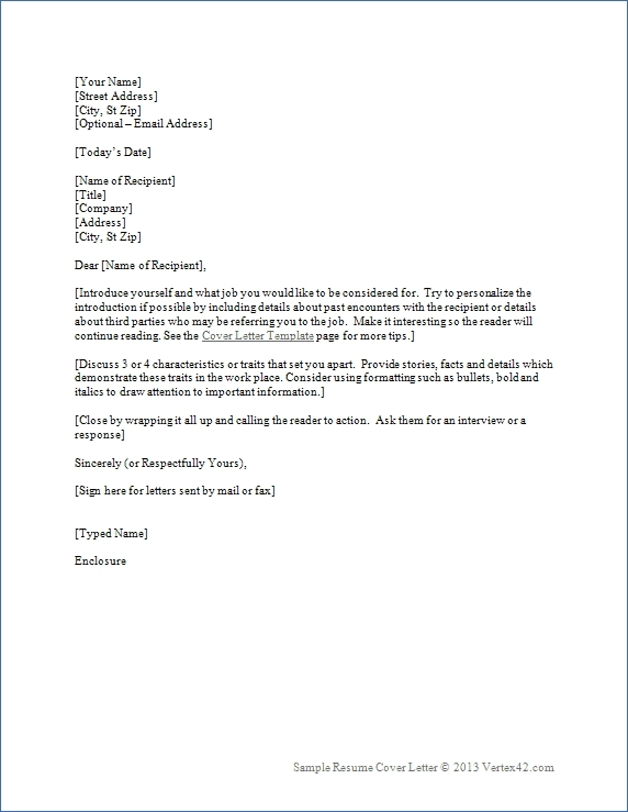 Cover Letter Template Resume