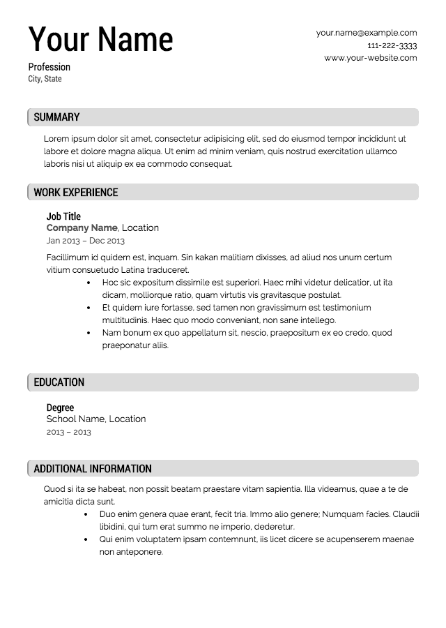 Free Resume Job Templates - Resume Examples