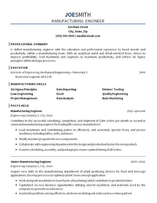 resume examples mechanical engineer