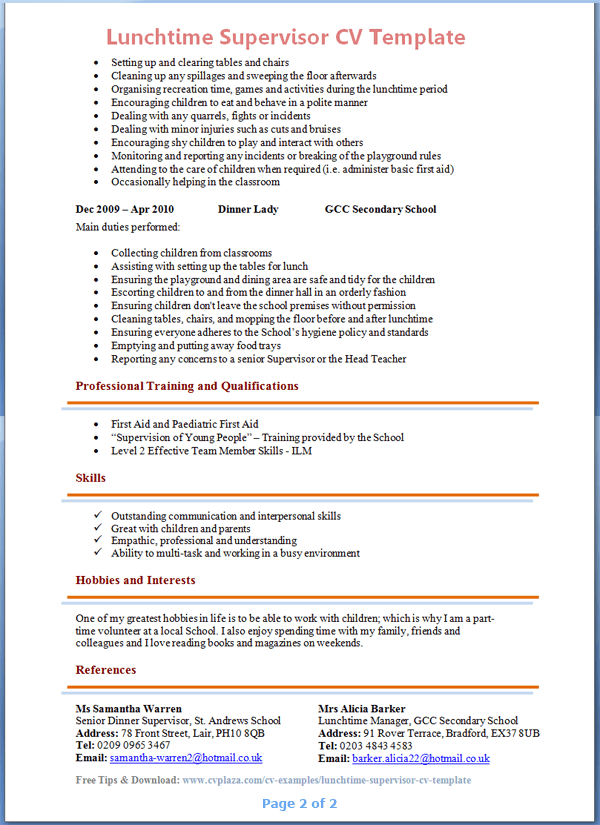 Cv Template Young Person