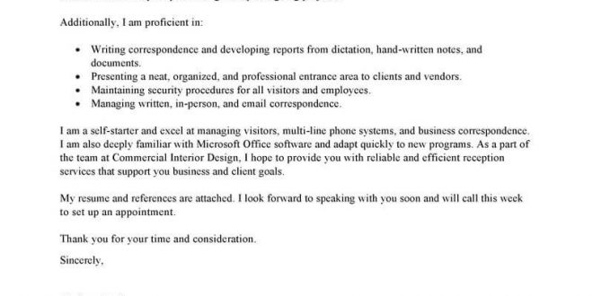 Cover Letter Template For Receptionist
