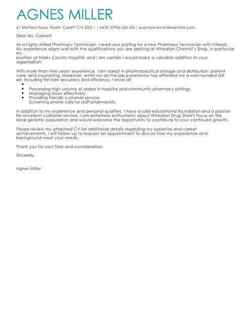 Cover Letter Template Pharmacist
