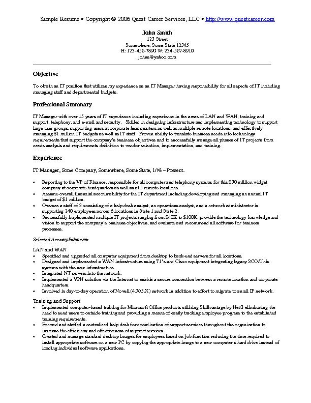 resume examples technical