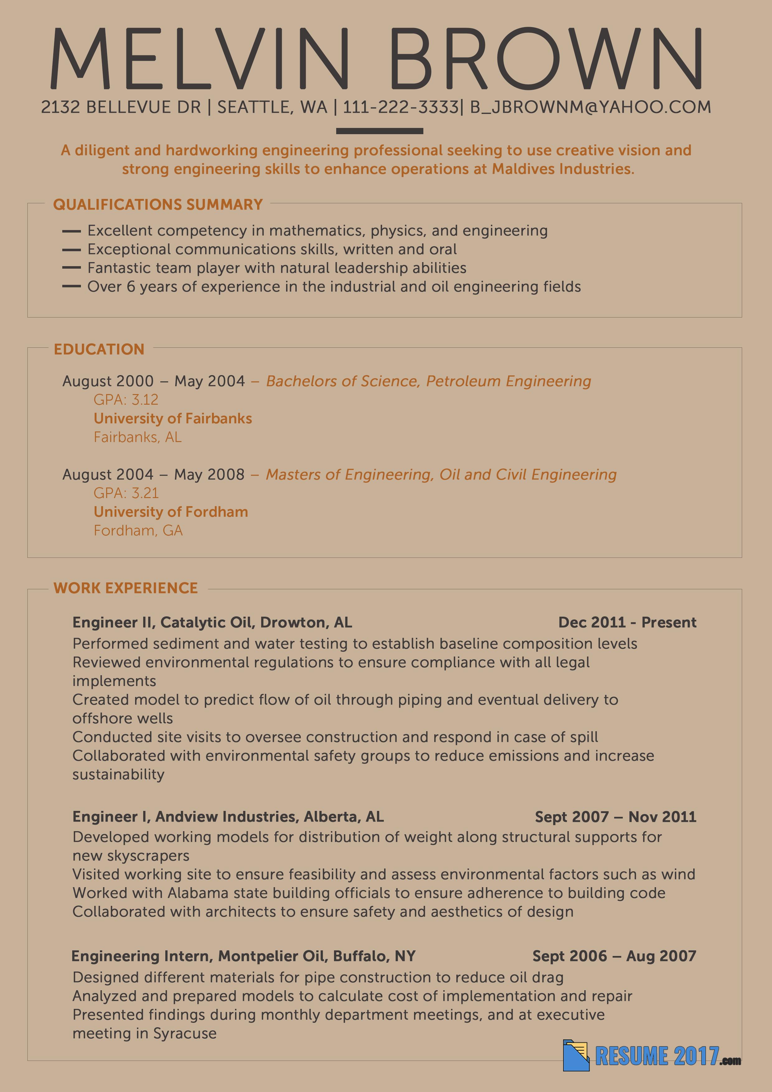 resume examples 2018 engineering