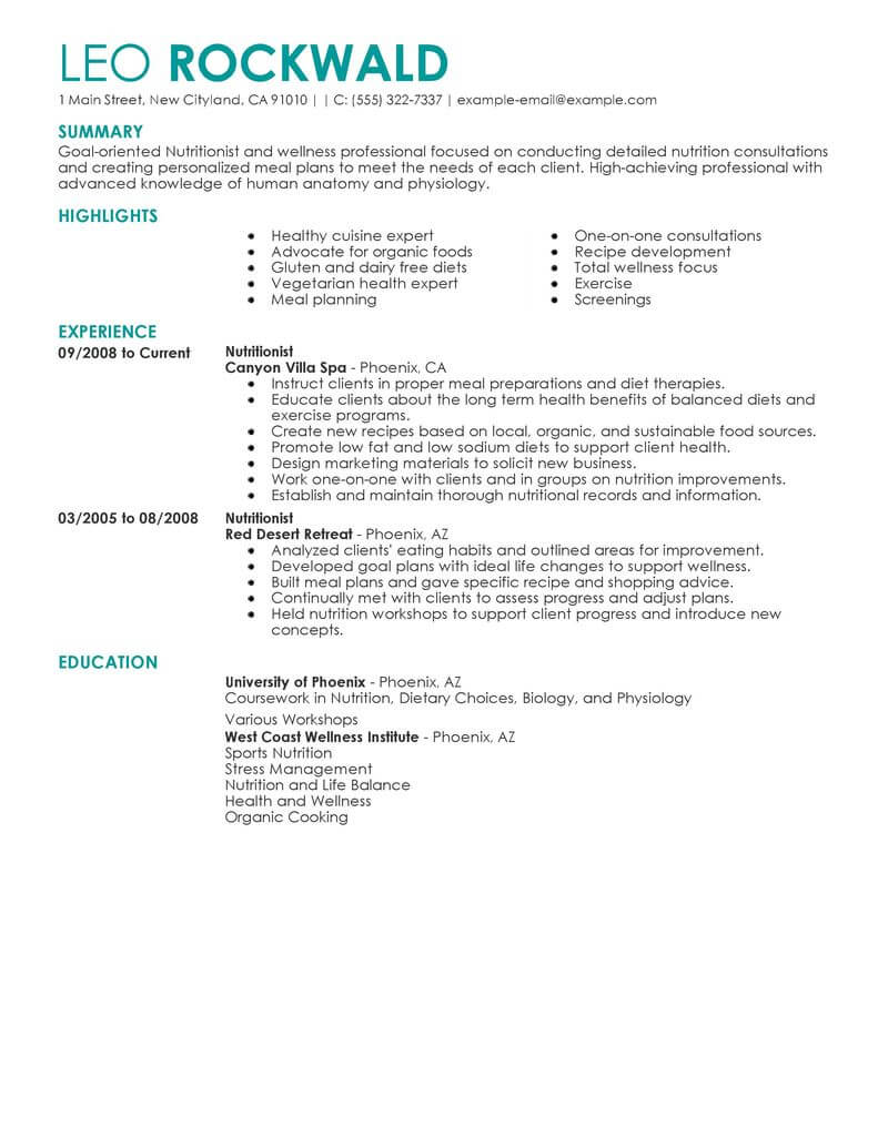 Resume Examples Nutritionist