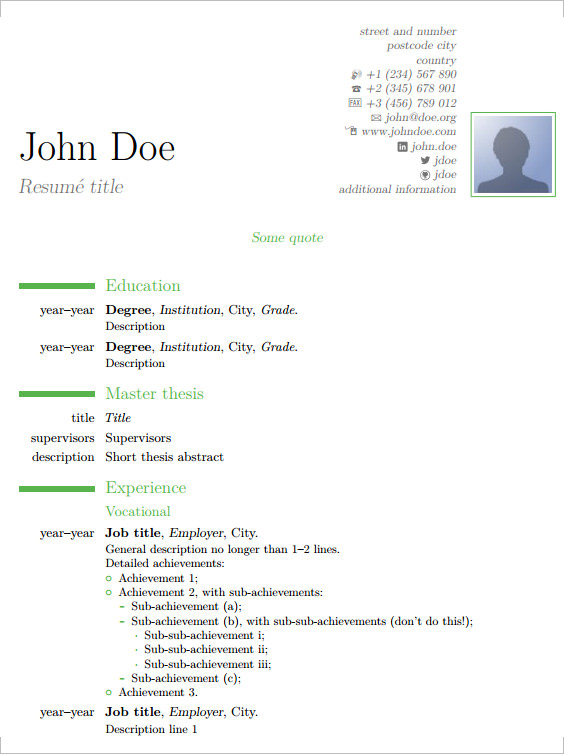 Cv Template Latex