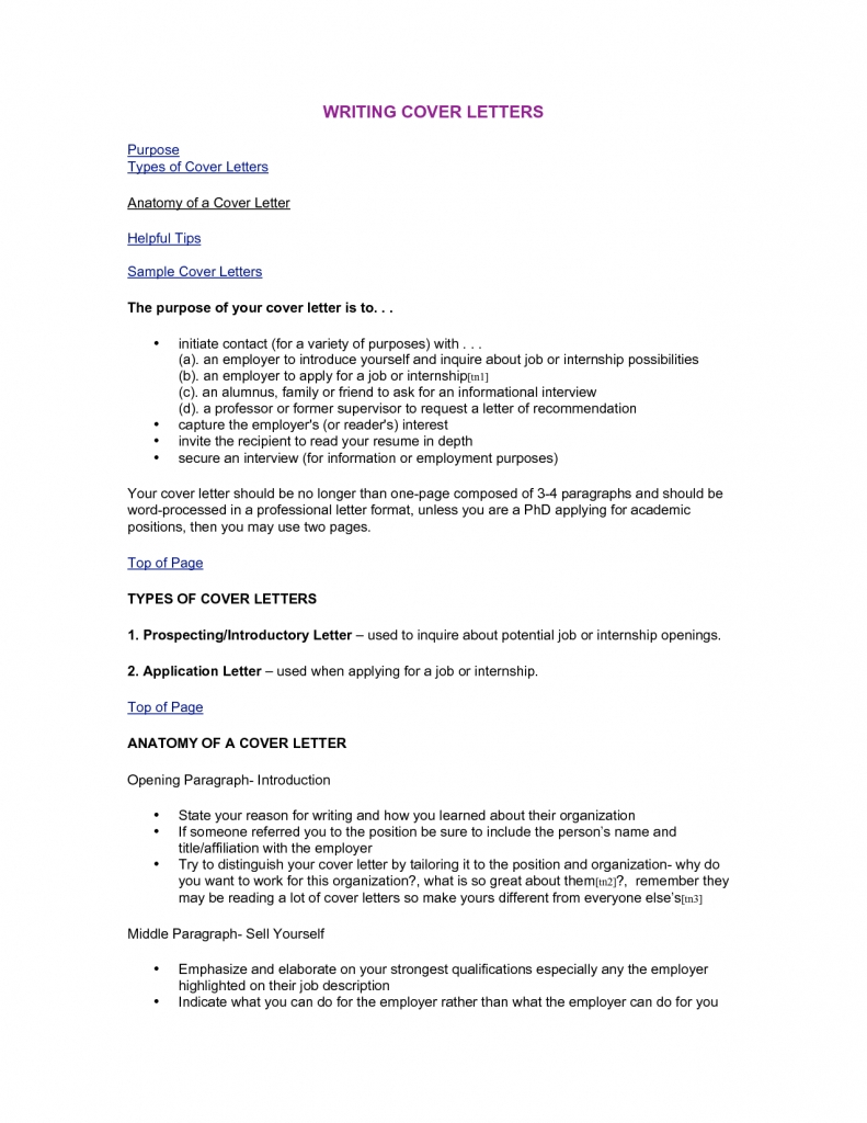 Types Of Cover Letter Template - Resume Examples
