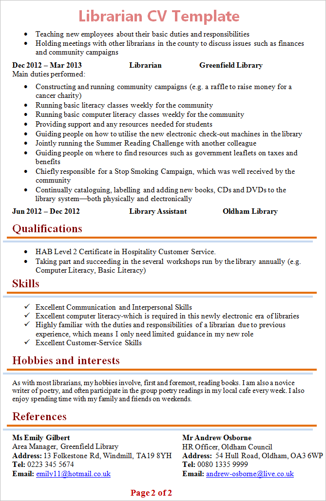cv template hobbies