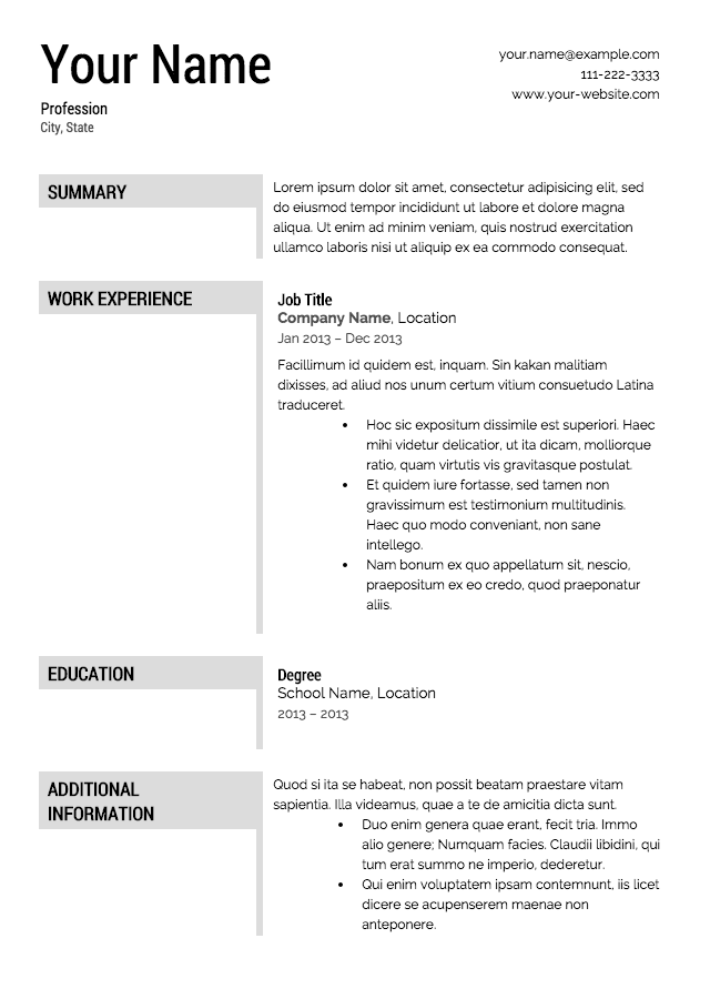free resume templates no charge