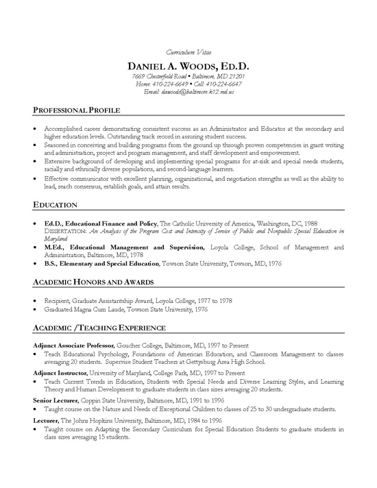 Cv Template Professor