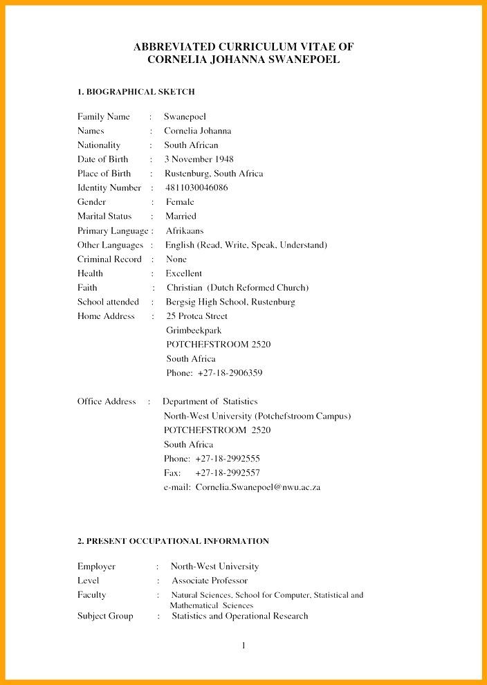 Cv Template Za Resume Examples
