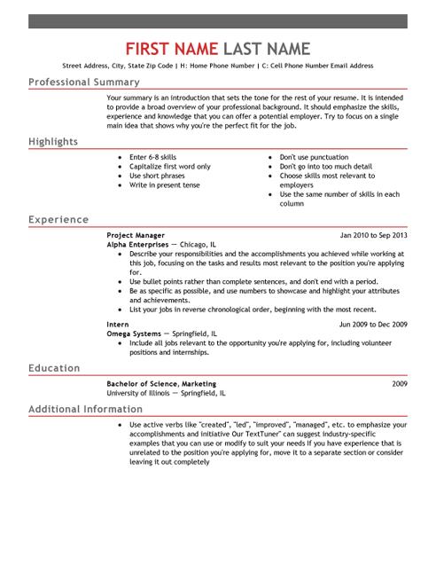 Free Resume Templates Usa