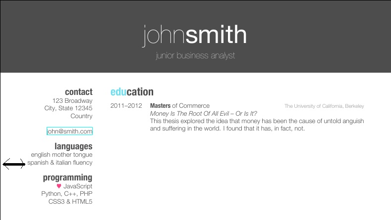 cv template john smith