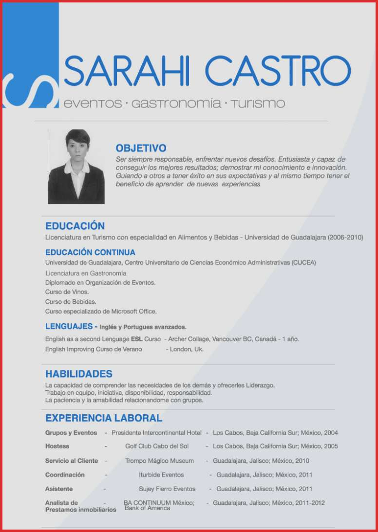 Resume Examples In Spanish