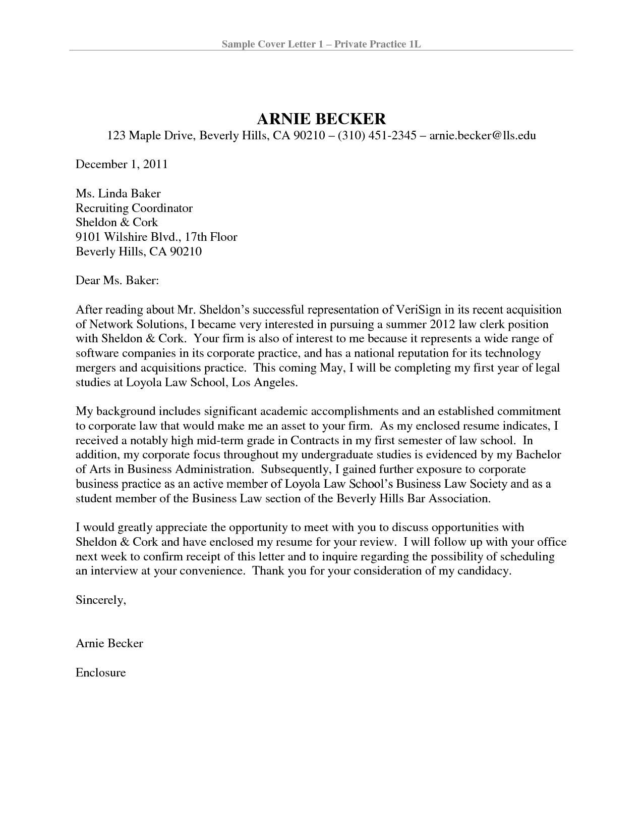 Cover Letter Template Law