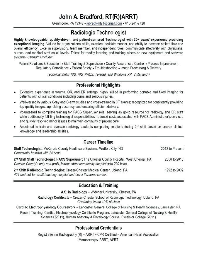 X Ray Technician Resume Examples