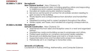 Resume Examples Receptionist