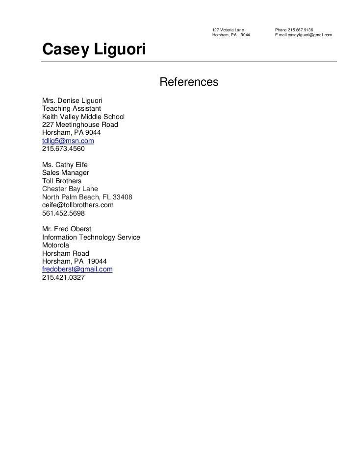 Resume Examples References - Resume Examples