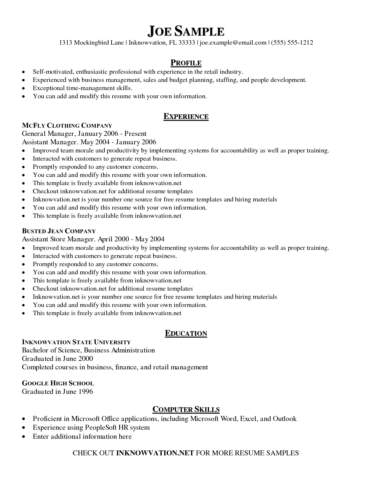 Sample Of Free Resume Templates Resume Examples