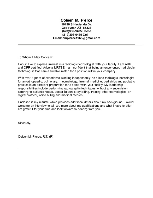 X Ray Tech Cover Letter Template - Resume Examples
