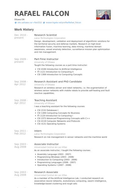 Cv Template Research Scientist - Resume Examples