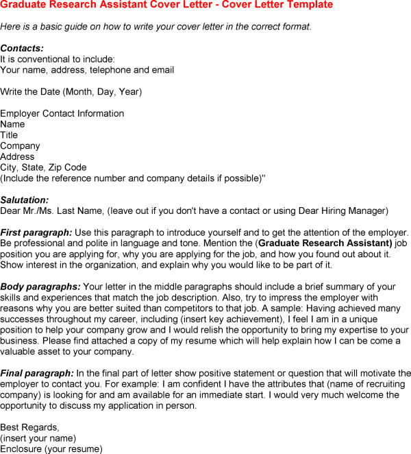Cover Letter Template Research Assistant Resume Examples