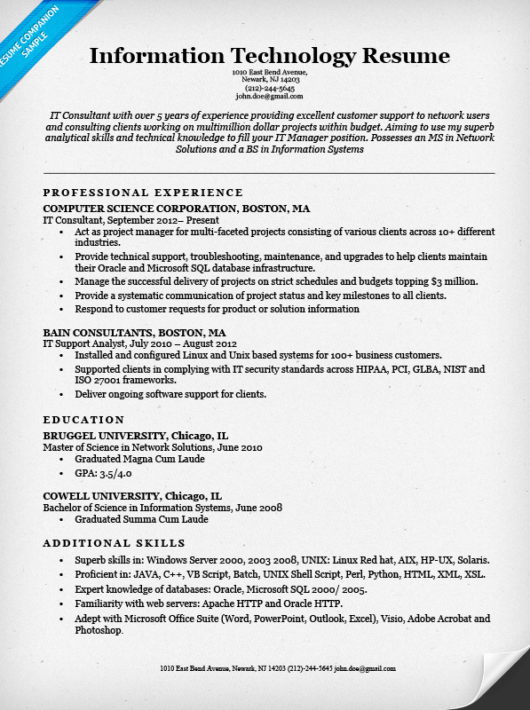 free resume templates information technology