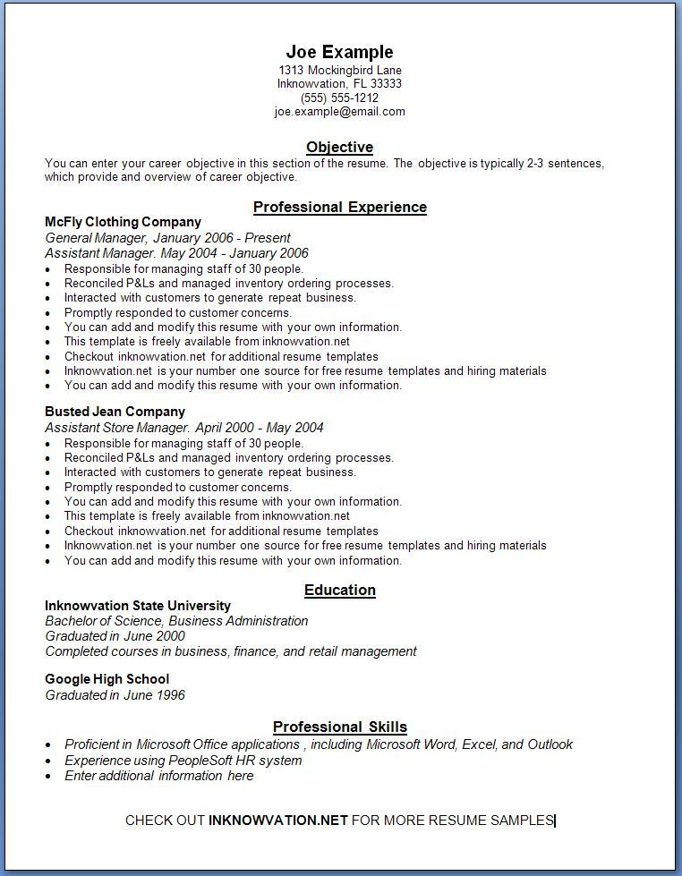 Free Resume Templates For Job Application Resume Examples