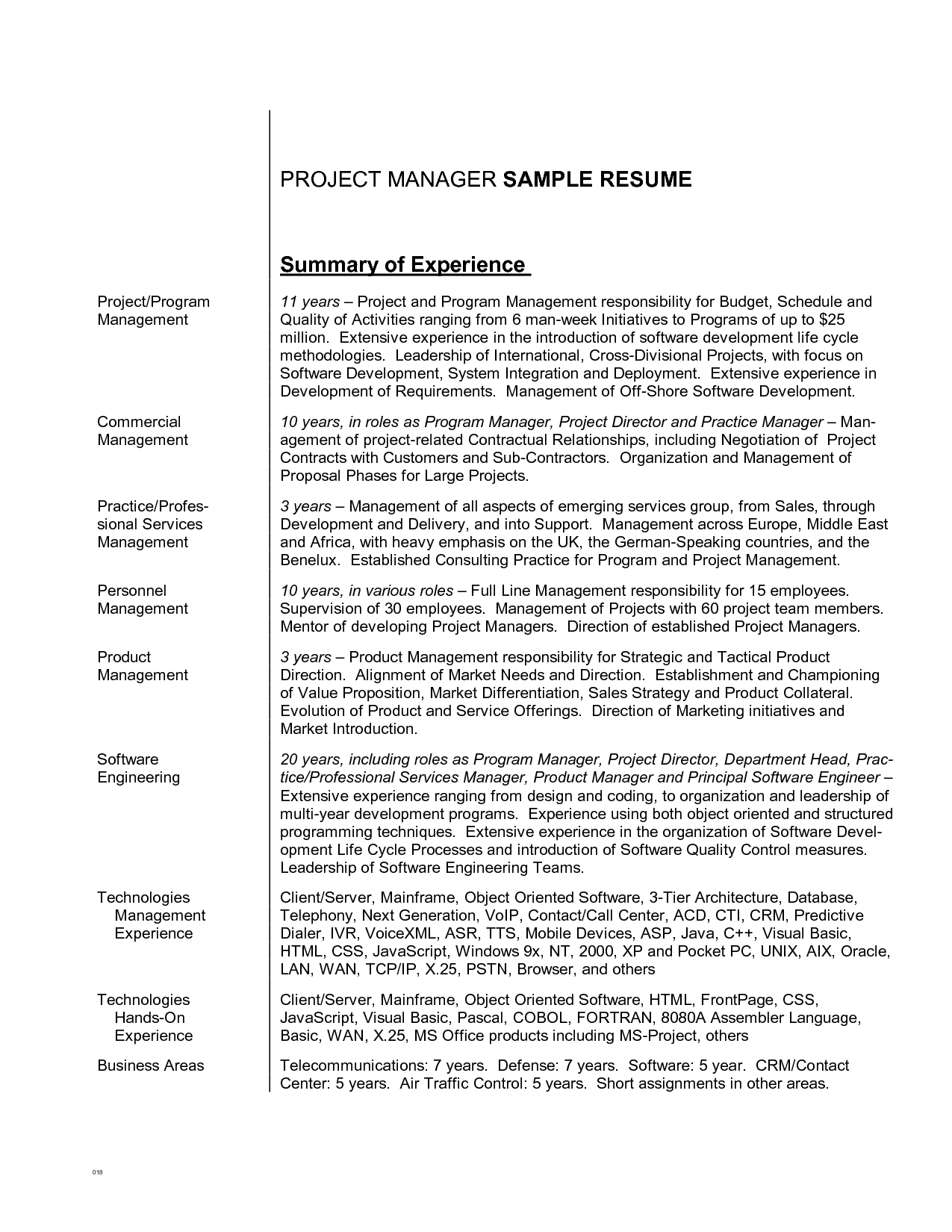 Summary On Resume Examples