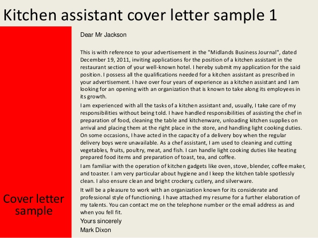 Cover Letter Template Kitchen Assistant